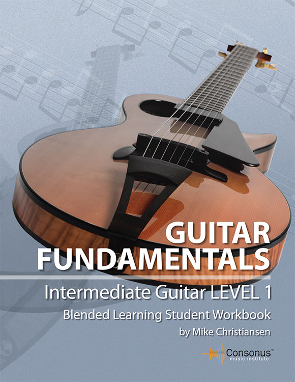 Companion intermediate guitar book for Guitar for Everyone's Intermediate online guitar lessons